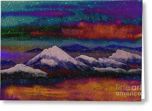 Snowy Night Night Greeting Cards - Snowy Mountains on a Colorful Winter Night Greeting Card by Beverly Claire Kaiya