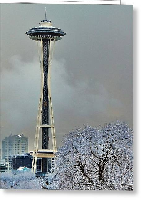Seattle Landmarks Greeting Cards - Snowy Needle Greeting Card by Benjamin Yeager