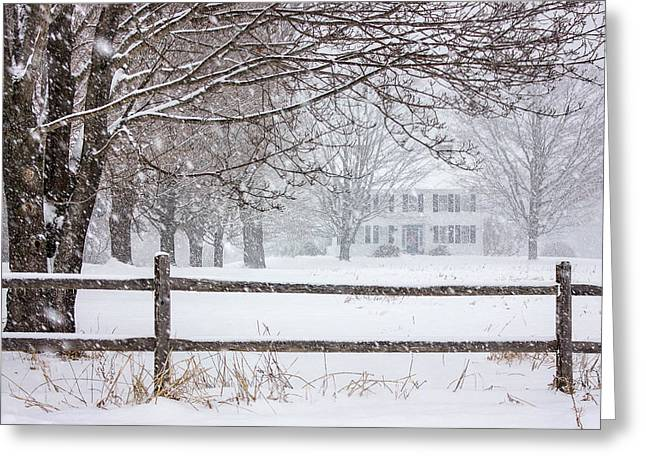 Kinkade Greeting Cards - Snowy New England Greeting Card by Benjamin Williamson