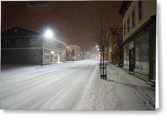 Recently Sold -  - Snowy Night Night Greeting Cards - Snowy Night Greeting Card by Alan Chandler