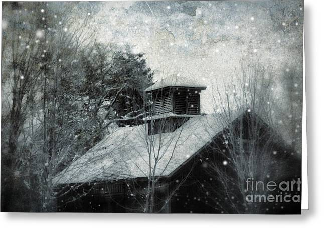 Snowy Night Night Greeting Cards - Snowy Night Greeting Card by HD Connelly
