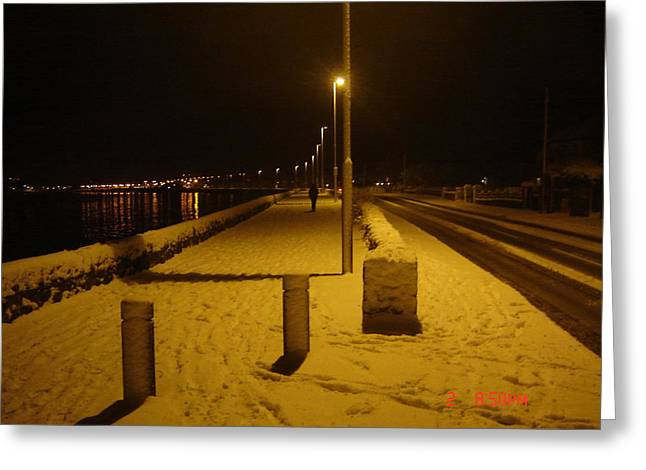 Snowy Night Greeting Cards - Snowy Night in Baldoyle Greeting Card by Martin Masterson