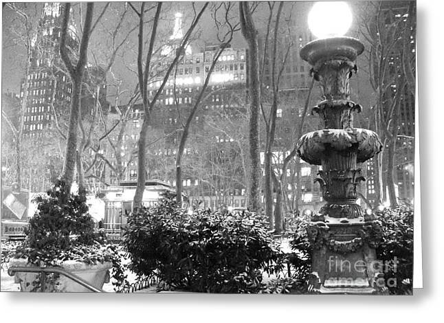 Bryant Park Greeting Cards - Snowy Night in Bryant Park II Greeting Card by Miriam Cintron
