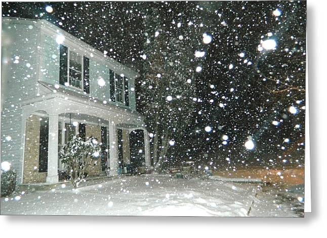 White Frame House Digital Greeting Cards - Snowy Night In Maryland Greeting Card by Emmy Marie Vickers
