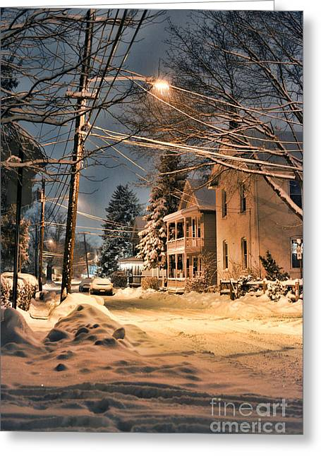 Snowy Night Greeting Cards - snowy night in Northampton Greeting Card by HD Connelly