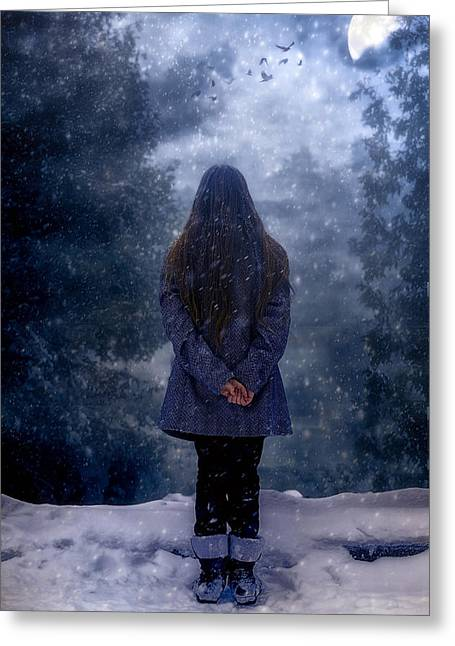 Snow-coated Greeting Cards - Snowy Night Greeting Card by Joana Kruse
