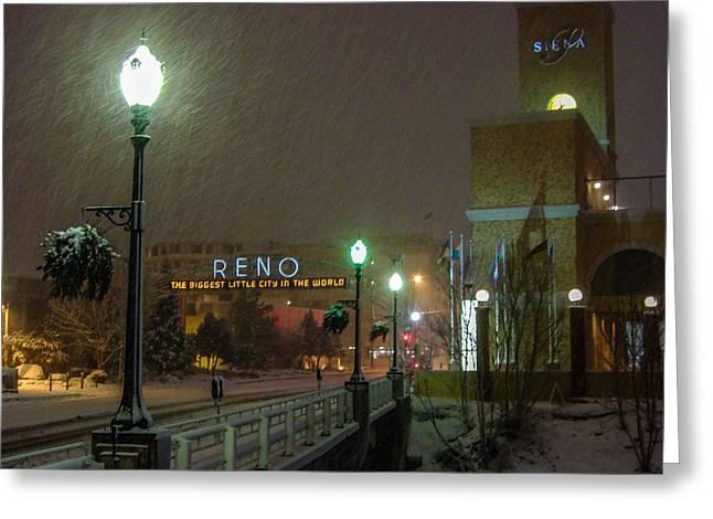 Streetlight Greeting Cards - Snowy Night Greeting Card by Marc Crumpler