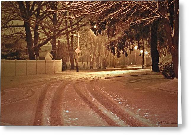 Snowy Night Greeting Card by Mikki Cucuzzo