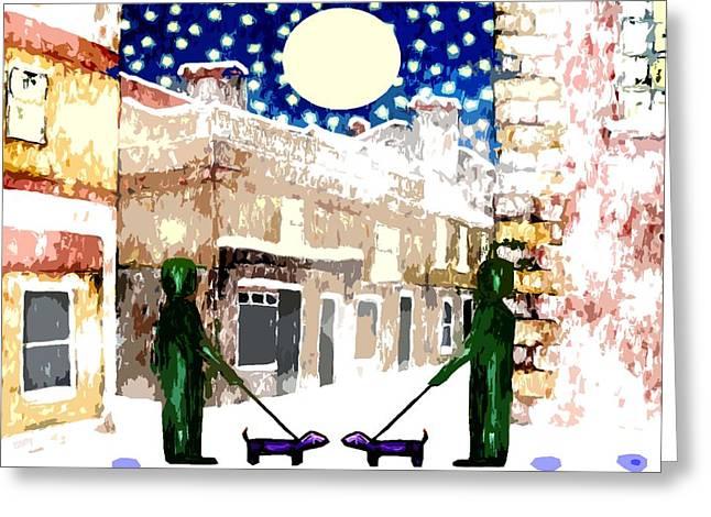 Snowy Night Night Greeting Cards - Snowy Night Greeting Card by Patrick J Murphy