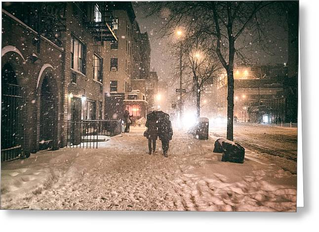 Snowy Night Greeting Cards - Snowy Night - Winter in New York City Greeting Card by Vivienne Gucwa