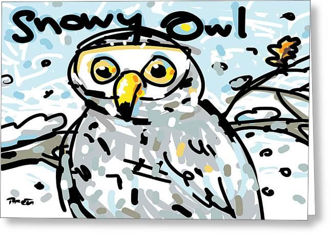 Snowy Evening Digital Art Greeting Cards - Snowy Owl Greeting Card by Brett LaGue