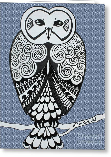 Ble Sky Greeting Cards - Snowy Owl Bubbles Greeting Card by Karen Larter