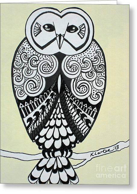 Ble Sky Greeting Cards - Snowy Owl Cream Greeting Card by Karen Larter