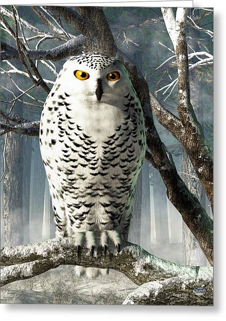 Snowy White Owl Greeting Cards - Snowy Owl Greeting Card by Daniel Eskridge