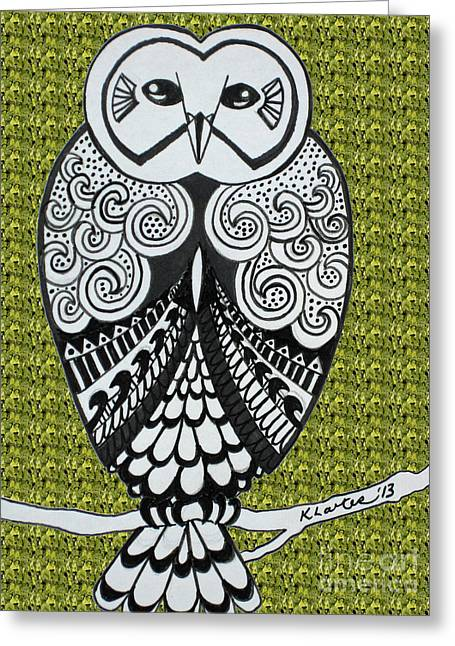 Ble Sky Greeting Cards - Snowy Owl Green Greeting Card by Karen Larter