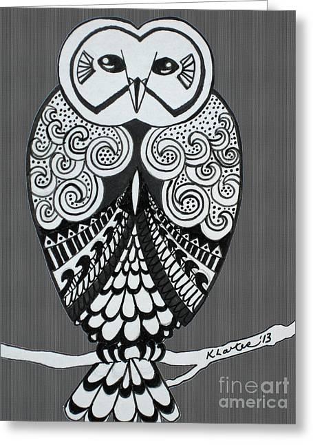 Ble Sky Greeting Cards - Snowy Owl Grey Stripe Greeting Card by Karen Larter