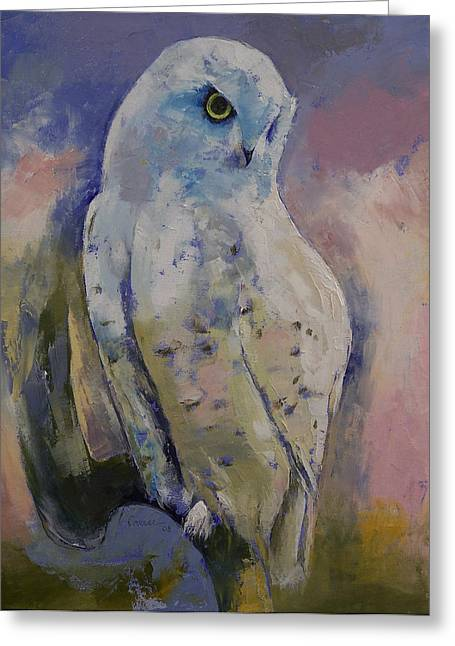 Realist Prints Greeting Cards - Snowy Owl Greeting Card by Michael Creese