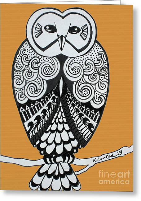Ble Sky Greeting Cards - Snowy Owl Orange Greeting Card by Karen Larter