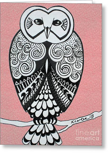 Ble Sky Greeting Cards - Snowy Owl Pink Greeting Card by Karen Larter