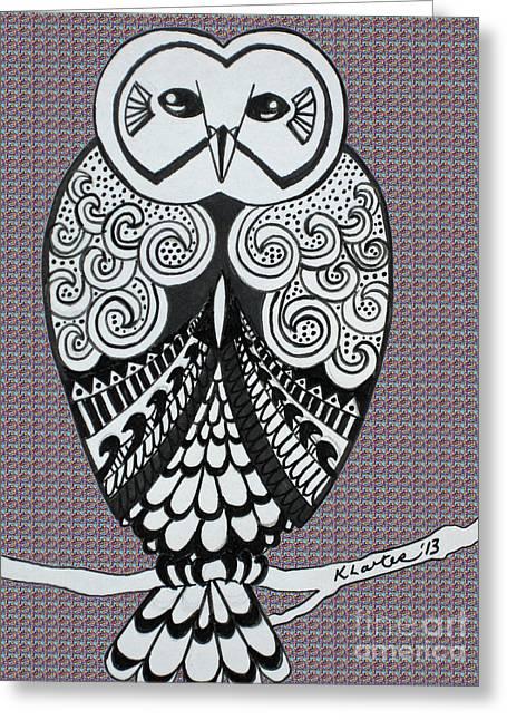 Ble Sky Greeting Cards - Snowy Owl Purple Greeting Card by Karen Larter