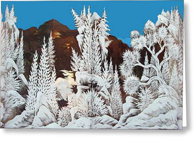 Tears Greeting Cards - Snowy Panorama Greeting Card by Mario Labonte