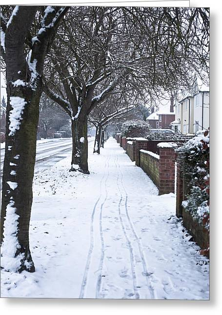 Suburbia Greeting Cards - Snowy path Greeting Card by Tom Gowanlock
