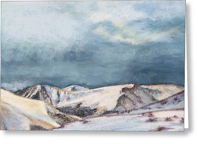 Acrylic Print Greeting Cards - Snowy Peaks Greeting Card by Abbie Groves