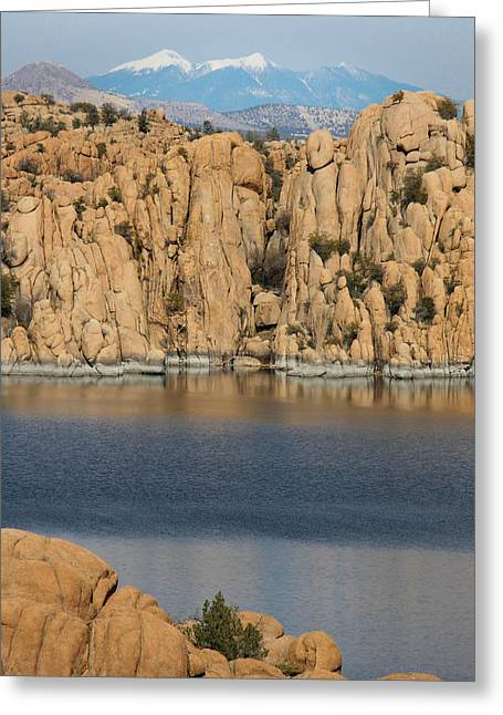 Watson Lake Greeting Cards - Snowy Peaks and a Volcanic Lake Greeting Card by Aaron Burrows