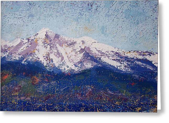 Mbobb Greeting Cards - Snowy Peaks Greeting Card by Margaret Bobb