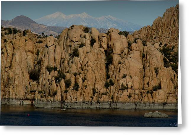 Watson Lake Greeting Cards - Snowy Peaks Wide-Angle from the Lake Greeting Card by Aaron Burrows