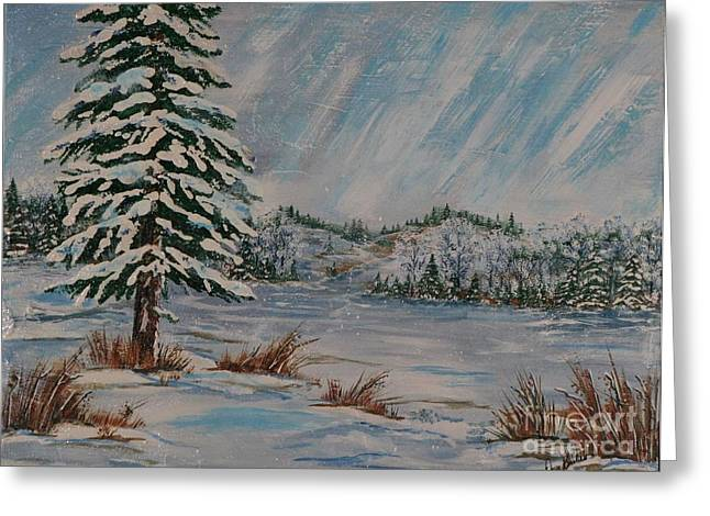 For Those Who Love Blue Greeting Cards - Snowy Pine Greeting Card by Doreen Karales Zonts