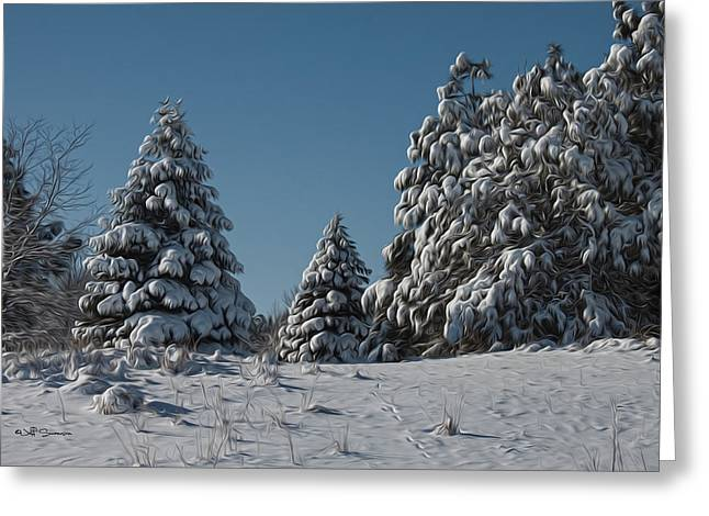 Chalco Hills Recreation Area Greeting Cards - Snowy Pines Greeting Card by Jeff Swanson