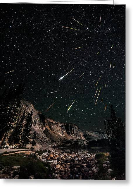 Perseid Meteor Shower Greeting Cards - Snowy Range Perseids Meteor Shower Greeting Card by David Kingham