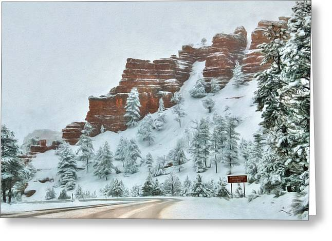 Wintry Digital Art Greeting Cards - Snowy Red Canyon Greeting Card by Lori Deiter