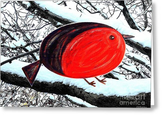 Snow Tree Prints Mixed Media Greeting Cards - Snowy Red Robin Greeting Card by Patrick J Murphy