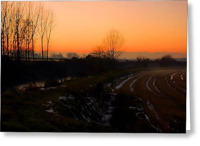 Stream Digital Art Greeting Cards - Snowy rice fields at sunset Greeting Card by Guido Strambio