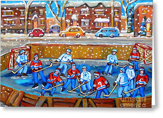 Goalie Paintings Greeting Cards - Snowy Rink Hockey Game Montreal Memories Winter Street Scene Painting Carole Spandau Greeting Card by Carole Spandau
