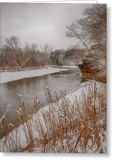 Oregon Illinois Greeting Cards - Snowy River Greeting Card by Jim Kuchler