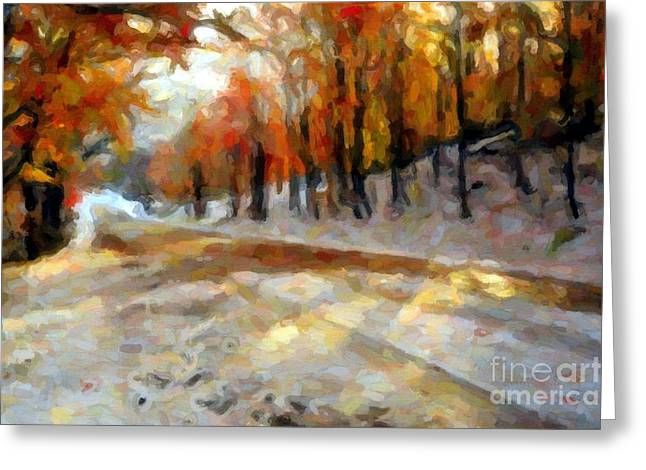 Winter Road Scenes Digital Greeting Cards - Snowy Road Abstract Greeting Card by Terri Gostola