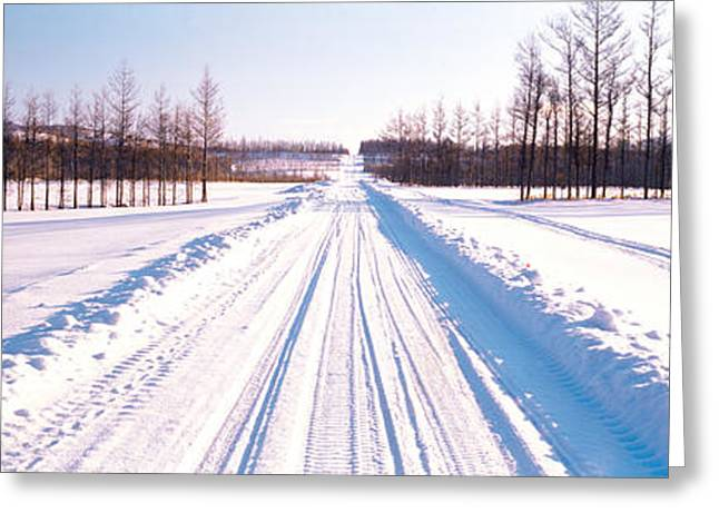 Snowy Day Greeting Cards - Snowy Road Hokkaido Shari-cho Japan Greeting Card by Panoramic Images