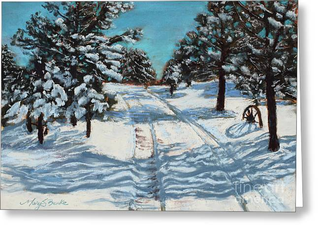 Winter Road Scenes Pastels Greeting Cards - Snowy Road Home Greeting Card by Mary Benke