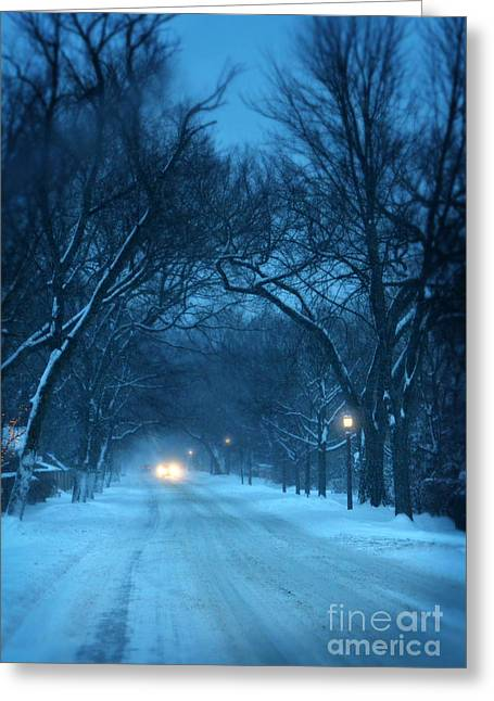 Snowy Night Night Greeting Cards - Snowy Road on a Winter Evening Greeting Card by Jill Battaglia