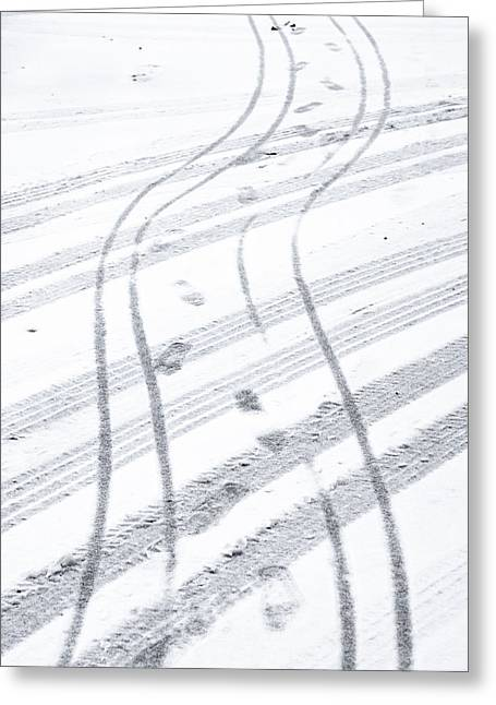 Traces Greeting Cards - Snowy road Greeting Card by Tom Gowanlock