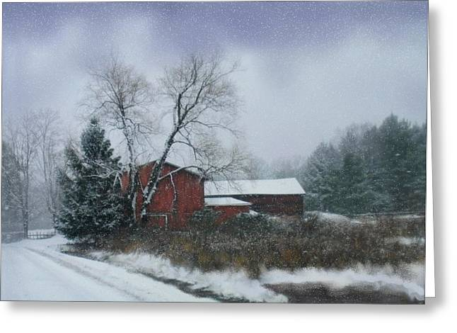 Snowy Road With Barn Greeting Card by Linda Seifried