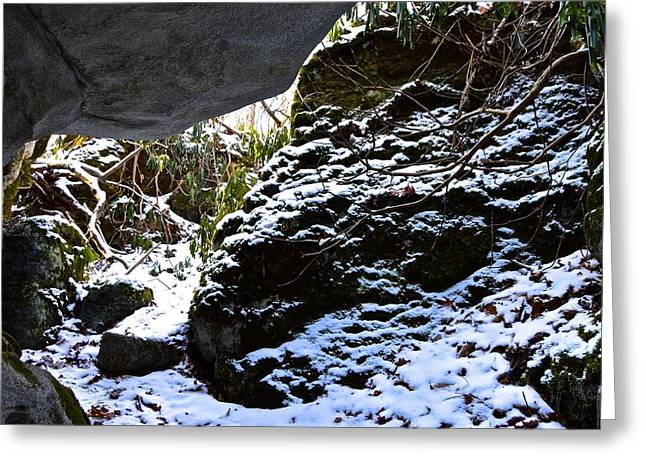 Overhanging Snow Greeting Cards - Snowy Rock Overhang Greeting Card by Jake Donaldson