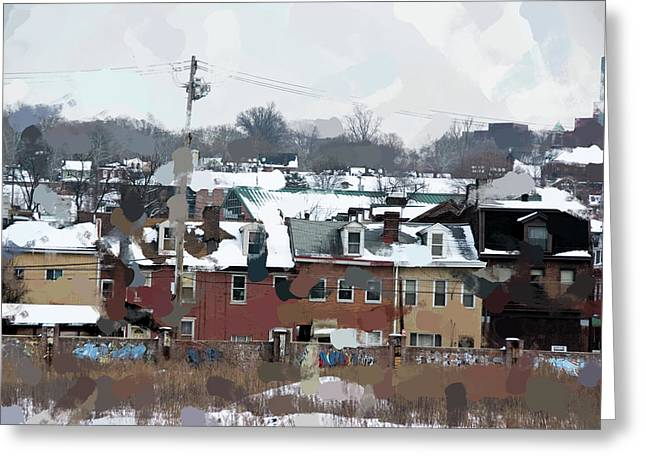 Snowy Roofs Greeting Card by Jay Ressler