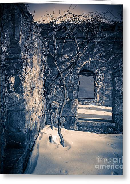 Snowy Ruins At Night Greeting Card by Edward Fielding