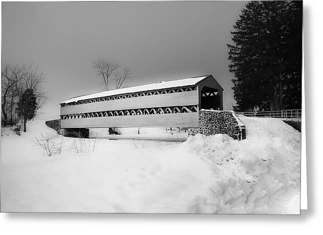 Snowy. Covered Greeting Cards - Snowy Sachs Covered Bridge in Black and White Greeting Card by Bill Cannon
