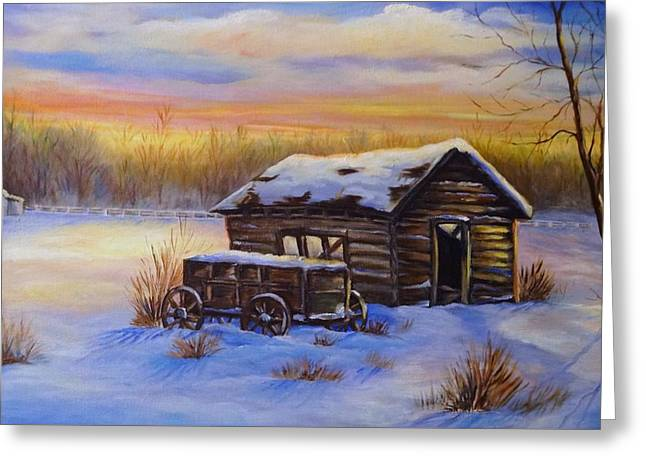 Sheltering From The Weather Greeting Cards - Snowy shelter Greeting Card by Laurine Baumgart