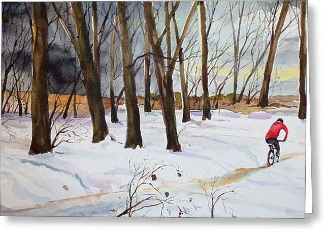 Scott Nelson Paintings Greeting Cards - Snowy Single Track  Greeting Card by Scott Nelson